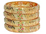 #6: Mansiyaorange Tradional Fancy Designer Casual Orignal Look Meena Hand Work Party Wedding Wear One Gram Gold Golden Bangles For Women Stylish