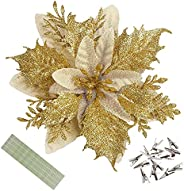 Wereves 12 Pcs Glitter Artificial Poinsettia Flowers with Clips and Stems, 5.9 Inch Artificial Flowers Christm