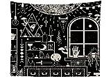 Psychedelisch Schwarz Magisch Zimmer Wandteppich Sonne Mond Sterne Auge der Vorsehung Hand Wandkunst Tapisserie Dekorative Wandbehang Wanddecke Boho Wandtuch Vorhang Tischdecke 51 * 59in