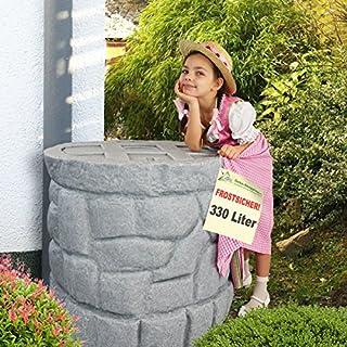Regentonne Märchenbrunnen granit-grau 330 l, Regenfass FROSTSICHER mit stabilem Deckel und Wasserhahn, schöner und fast unverwüstlicher Regenspeicher, echte Steinstruktur, BRUNNEN wie gemauert