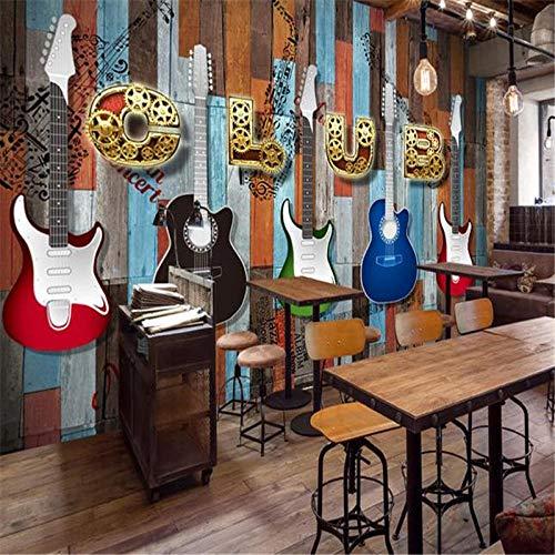 3D Benutzerdefinierte Tapeten Bar KTV Thema Wandbilder Foto VintageIndustrie Wände Papiere für Musik Kunst Malerei Hintergrund Gitarre