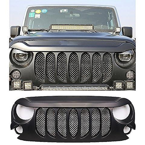 Front Gladiator Grid Grill mit Bug-Bildschirm für Jeep Wrangler Unlimited JK 2007-2017,Schwarz Front Matte Mesh Einsätze