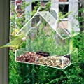 LIVIVO Hanging Clear Acrylic Window Bird Feeder with Integrated Seed Tray and 3 Suction Cups Attachments from LIVIVO