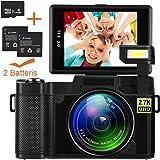 Videokamera Camcorder, Weton WiFi Digitalkamera Recorder mit 16 GB SD Karte 24,0 MP Full HD 1080P Flip Screen Vlogging Kamera für YouTube mit Taschenlampe (Zwei Batterien Enthalten)