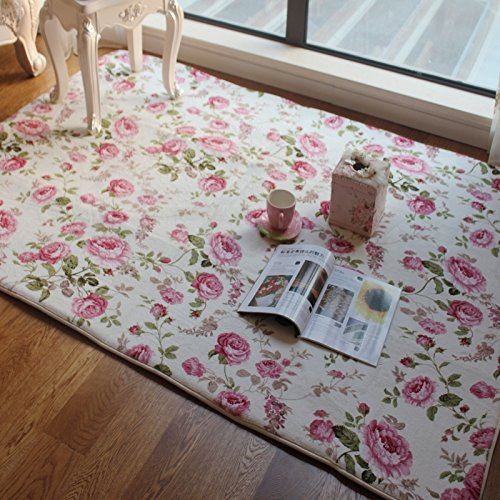 FADFAY Home Textile,Romantic American Country Style Floral Room Floor Mats,Sweet Rose Print Carpets For Living Room Modern,Designer Shabby Style Flower Rug Decorative by FADFAY
