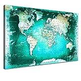 LANA KK - Leinwandbild Weltkarte SW Türkis Weltkarte - deutsch - Kunstdruck-Pinnwand auf Echtholz-Keilrahmen – Globus in türkis, einteilig & fertig gerahmt in 100 x 70 cm