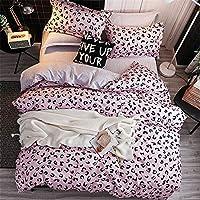 Morbuy Duvet Cover Bedding Set 3 Piece, 2 x Pillowcases 1 x Quilt Case for Kids Child Teens Adult (Double-200x200cm, A Pink leopard print)