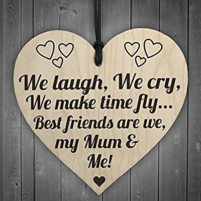 Red Ocean Best Friends My Mum & Me Wooden Hanging Heart Plaque Mothers Love Plaque Gift