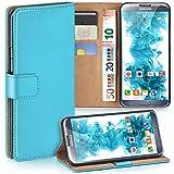 moex Samsung Galaxy Note 2 | Hülle Türkis mit Karten-Fach 360° Book Klapp-Hülle Handytasche Kunst-Leder Handyhülle für Samsung Galaxy Note 2 Case Flip Cover Schutzhülle Tasche