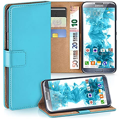 Samsung Galaxy Note 2 Hülle Türkis mit Karten-Fach [OneFlow 360° Book Klapp-Hülle] Handytasche Kunst-Leder Handyhülle für Samsung Galaxy Note 2 Case Flip Cover Schutzhülle Tasche