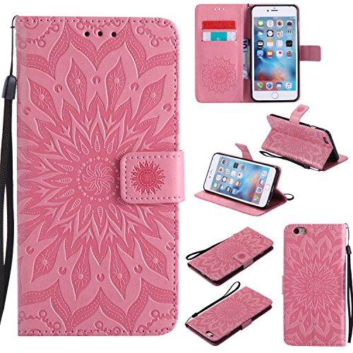 Cozy Hut iPhone 6 Plus / 6S Plus Hülle [ Sunflower Muster ] [Premium Leder] [Standfunktion]...