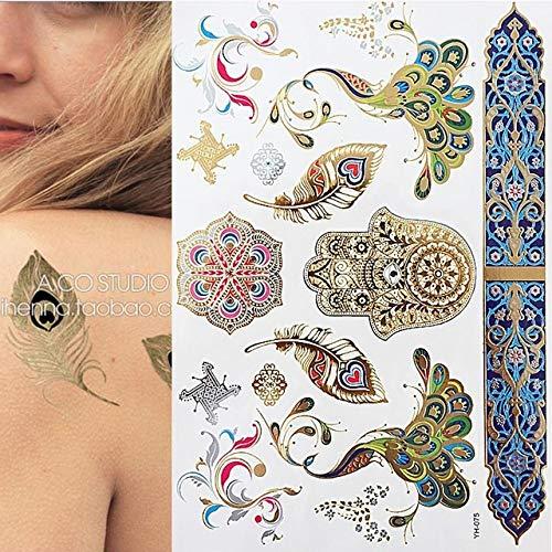 7pcs tatuaggio tattoo tattoo oro argento metallizzato metallic gold boho