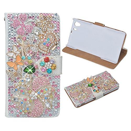EVTECH (TM) für [Sony Xperia Z3] Blumenkrone Bling Kristallfunkeln -Buch-Art-Folio-PU-Leder-Mappen-Kasten mit Handtasche Telefon-Halter & Karten-Slots (Halter Versenkt)