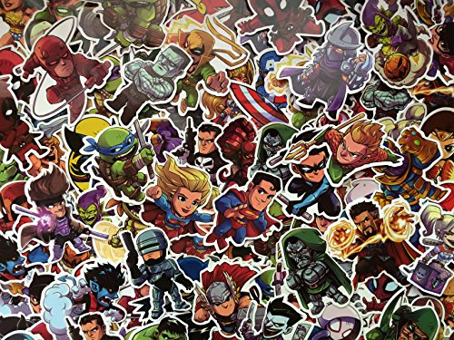 SBS Superheld Aufkleber Pack, Held Kind, Comics Chibi Sticker, Marvel, Avengers, DC, Verschiedene Vinyl-Aufkleber, Spiderman (50) -