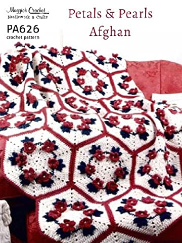 Crochet Pattern Petals & Pearls Hexagon Afghan PA626-R