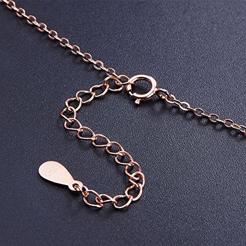 SWEETIEE -``L`Amour Éternel``Collier en Pur Argent 925 Sterling, pendentif étoiles émail,400mm Or Rose