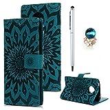 Edauto Motorola Moto E5 Hülle Leder Wallet Case Tasche Handyhülle Sonnenblume Flip Case Handyschale Brieftasche Ständer Etui Bookstyle Magnetverschluß Kartenfach Schutzhülle Klappcase Blau