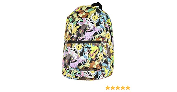 "Pokemon Comic All Over Print 16/"" Backpack Pikachu Eeveelutions Boys School Bag"