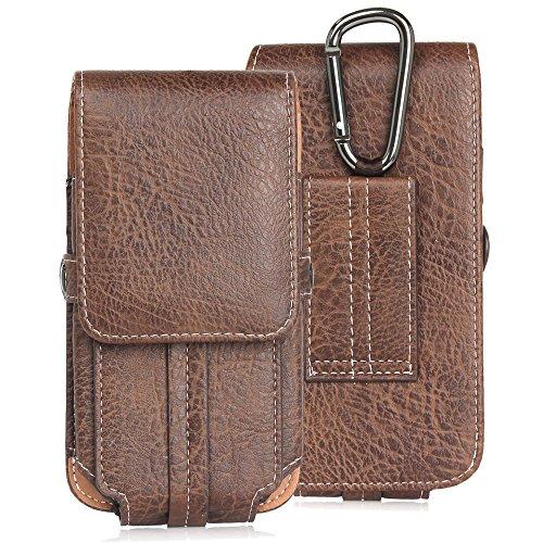 DAYNEW für 5.1 Zoll Universal-PU-Leder Hüfttasche Handytasche Tasche Smartphone Huawei Y3/P9 lite Mini/Honor 9-Dunkelbraun