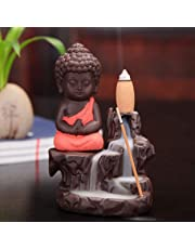 CraftJunction Meditating Monk Buddha Smoke Backflow Cone Incense Decorative Showpiece with 10 Smoke Backflow Cone Incenses (Red)