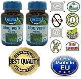 NATURMIL Aloe Vera 500 mg limpieza de colon, pack de (2 X 90) 180 comprimidos, para desintoxicar el...