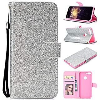 Amcor Love For Huawei Honor 9 Lite Case, Luxury Bling Glitter PU Leather Flip Wallet Case with Card Slots, Magnetic Tab and Stand For Huawei Honor 9 Lite, women's, For Huawei Honor 9 Lite, silver