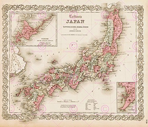 MAP ANTIQUE COLTON 1855 JAPAN OLD HISTORIC LARGE REPLICA POSTER PRINT PAM0831 - Japan, Antique Map
