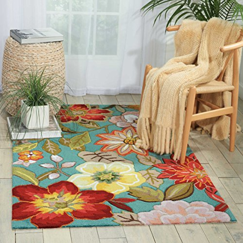 NOURISON Teppich Mondrian FA18, weiß, 99446104427 - AQUA (Floral-teppich Aqua)