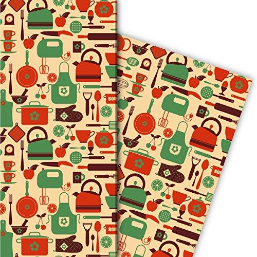 Retro Küchen Geschenkpapier mit Koch Geräten für tolle Geschenk Verpackung und Überraschungen 32 x 48cm, Dekorpapier, Papier zum Einpacken, auf gelb