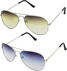 Sheomy Aviator Combo Pack of Mirrored Unisex Sunglasses (Silver_Blue_Silver_Green|55|Multicolour) - 2 Boxes Best Online Gifts