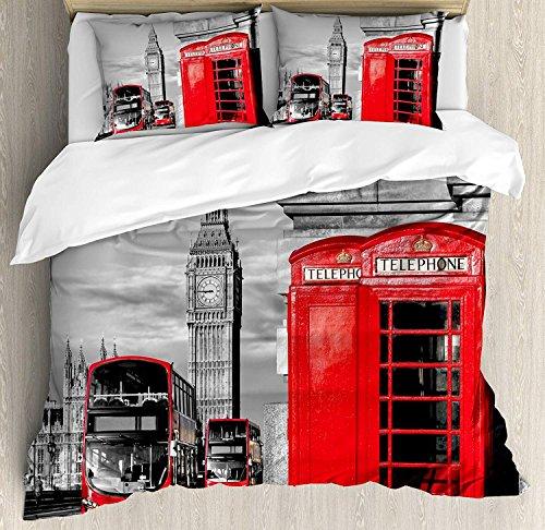 London 3-teiliges Bettwäscheset Bettbezug-Set, Londoner Telefonzelle in der Straße Traditionelle lokale kulturelle Ikone England UK Retro, 3-tlg. Tröster- / Qulitbezug-Set mit 2 Kissenbezügen, Rotgrau -