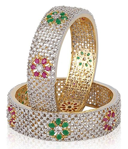 Jewels Galaxy Bridal Wedding Collection Ruby Emerald Embedded American Diamond Bangles  available at amazon for Rs.1999
