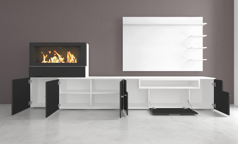 Home Innovation- Mobili da soggiorno con camino elettrico a 5 livelli di  fiamme, finitura bianco mate e nero laccato, misure: 290 x 170 x 170 x 45  cm ...
