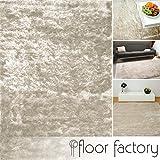 floor factory Exklusiver Hochflor Shaggy Teppich Satin beige/creme 80x150 cm - edler, seidig glänzender Teppich