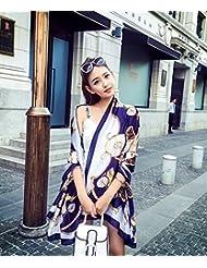 Otoño y primavera y verano All-Match High-Grade Hangzhou femenino Pañuelo de seda seda seda Seda Bufanda larga,Marina