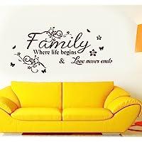 Decals Design 'Family Where Life Begins' Wall Sticker (PVC Vinyl, 60 cm x 45 cm, Black)