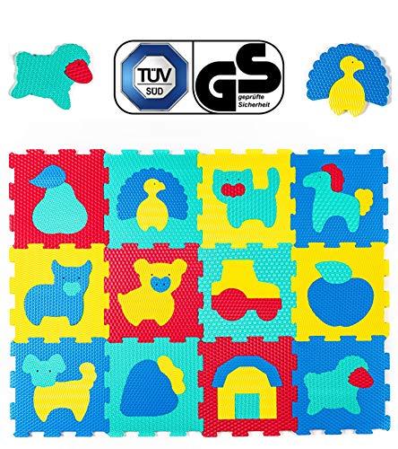 Hakuna matte tappeto puzzle per bambini con animali della fattoria | 12 piastrelle in schiuma 20% più spesse e morbide con custodia | per imparare e giocare | 100% sicuro, non tossico, inodore