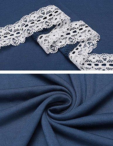 Ekouaer Damen Nachthemd Umstandskleid Knielang Kurzarm O-Ausschnitt Nachtwäsche NachtKleid Briefdruck Gemütlich locker einfacher Stil Schwarz/Rot/Grau/Blau(S-XXL) Blau353