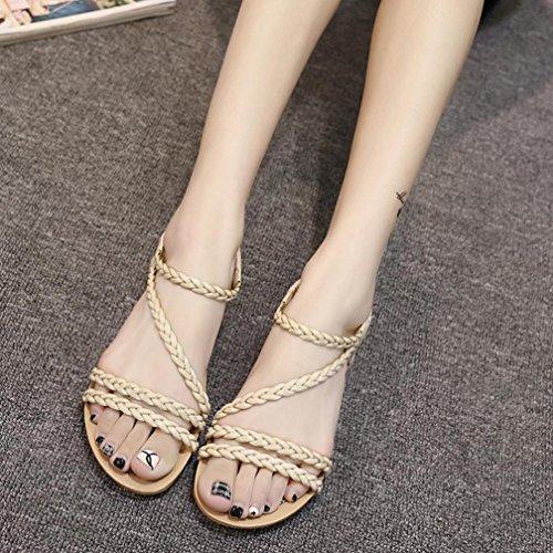 Saingace Frauen Sommer Weave Sandalen Home Sandalen Strand Flat Schuhe Beige