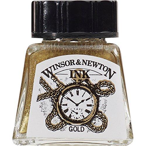 Winsor & Newton 1005283 Drawing Inks - Zeichentusche (für Kalligraphen, Illustratoren, Grafikern und Künstler - wasserbeständige Tinte mit herrvorragender Transparenz) 14 ml Flasche gold (Tinte 14)