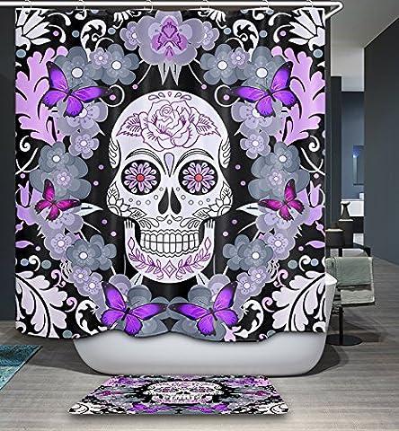 Kisy étanche Mildew-resistant Bain Rideau de douche violet Fleur Papillon Sucre Tête de mort Polyester salle de bain Rideau de douche (180cm ×