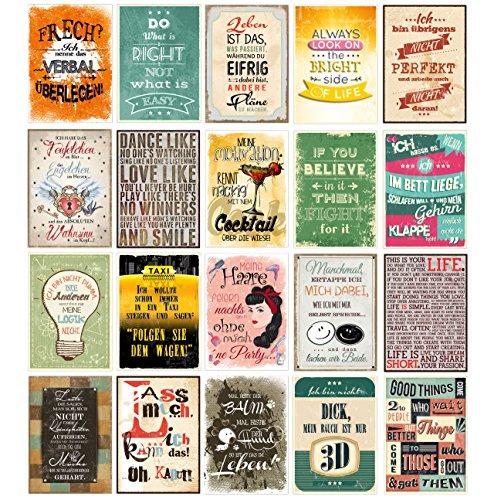 20 Spruchkarten #2, Retro Postkarten mit lustigen Sprüchen, 20 verschiedene Sprüche, 14,8 x 10,5 cm