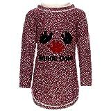 Kinder Pullover Mädchen Pulli Strickpullover Sweatshiert Langarm Flauschig 21756, Farbe:Bordeaux, Größe:128