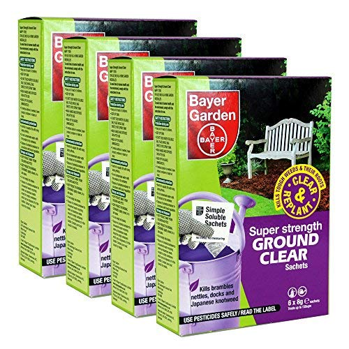 4 x Bayer Super Strength Ground Clear Weed Killer - 6 x 8g Sachets per pack treats upto 150 sqm - Kills Ground Elder, Nettles, Docks, Couch Grass & Japanese Knotweed.