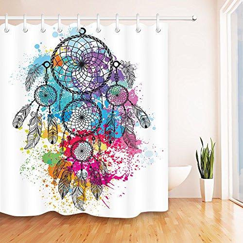 Atrapasueños pluma rosa_Decoración cortina de ducha para el baño,cortina de baño de tela de poliéster resistente al agua,59W x71H