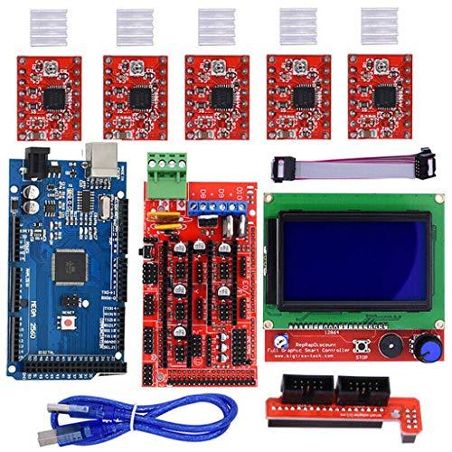 Biaobiaoc / 3D Drucker Kits RAMPS 1.4 Mega2560 12864 LCD Controller A4988 für Arduino Reprap -