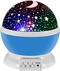 Lampada di Illuminazione Notturna,Sunvito Rotante Stella Luna Cielo Proiettore per Bambini,Camera da Letto(4 Perle Luminose LED,3 Luci di Modalità,Powered by DC5V/AAA Batteria e Cavo USB)