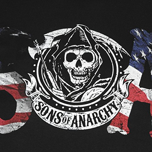 Official Official Sons of Anarchy Herren T Shirt Kurzarm Rundhals Print Tee Top Flag Letters