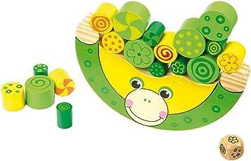 Balancierfrosch aus Holz, Lernspiel / Motorikspielzeug inkl. Würfel, für Kinder ab 3 Jahren