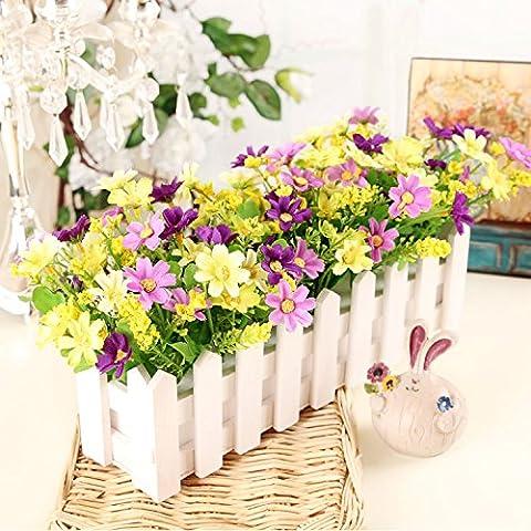 Fiori artificiali ShiQi vero tocco di fiori finti in plastica Vaso di fiori di ornamenti Soggiorno Festival Home giardino decorazione di nozze 30 White Picket Fence viola verde farfalle e fiori